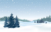 Christmas snowfall background. Snow winter landscape. Merry Christmas skyline. Winter nature holiday greeting card design.
