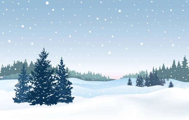 ilustrações, clipart, desenhos animados e ícones de fundo de neve de natal. paisagem do inverno de neve. retrô feliz natal inverno férias natureza cartão de felicitações. - inverno