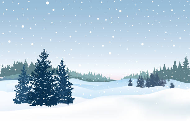 Christmas snowy background. Snow winter landscape. Retro Merry Christmas winter holiday nature greeting card. vector art illustration