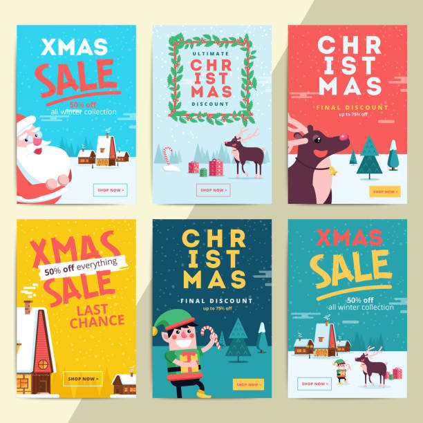 christmas social media sale banners for mobile website ad. xmas - email templates stock illustrations