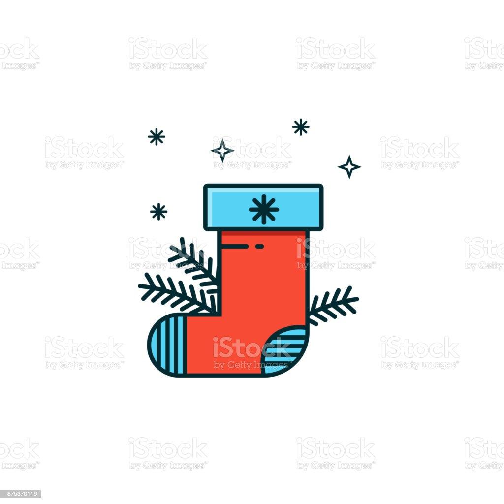 Ilustración de Icono De Planos Línea Color De Calcetín De Navidad ...