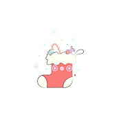 Christmas sock, gift winter wear icon. Element of Christmas for mobile concept and web apps. Colored Christmas sock, gift winter wear illustration can be used for web and mobile on white background