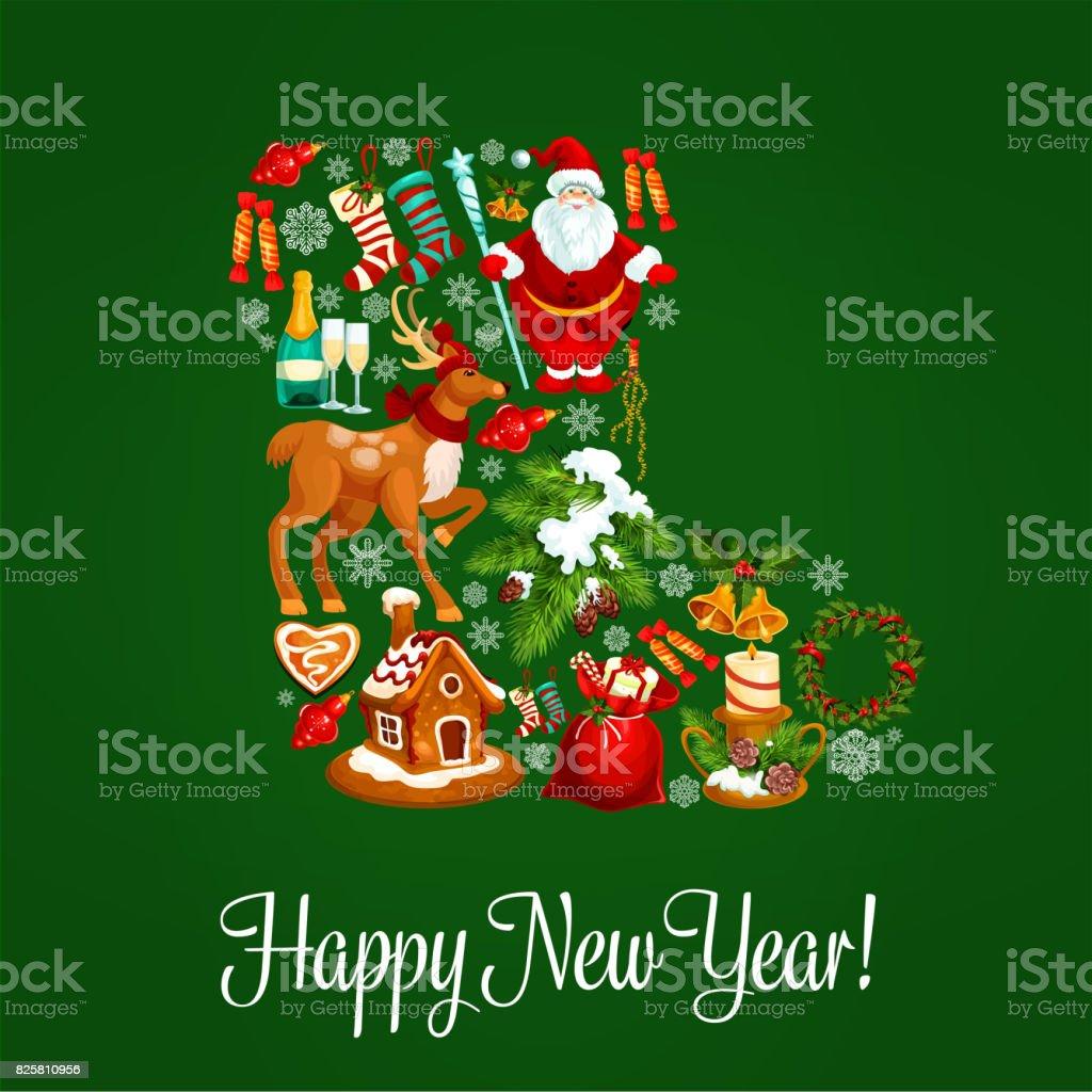 Christmas Sock Greeting Poster For New Year Design Stock Vector Art