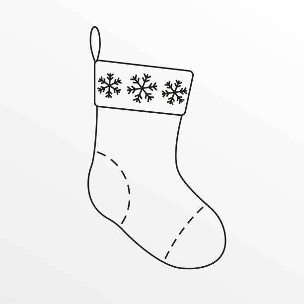 Christmas sock outline icon. Xmas stocking. Vector illustration. Christmas sock outline icon. Xmas stocking. Vector illustration. christmas stocking stock illustrations