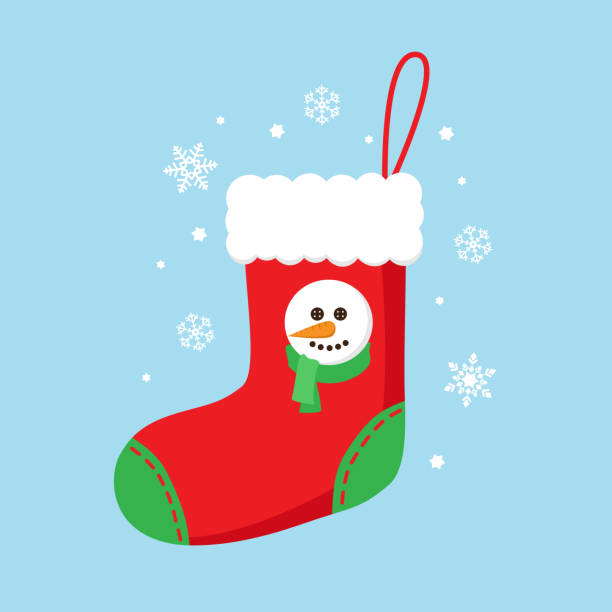 Christmas sock Christmas sock in red color with snowman christmas stocking stock illustrations