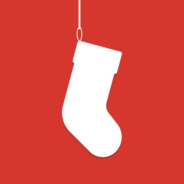 Christmas sock white silhouette Christmas sock white silhouette christmas stocking stock illustrations