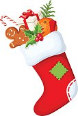 Christmas sock with gifts. Vector illustration.