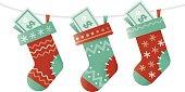 Christmas socks stuffed with money.