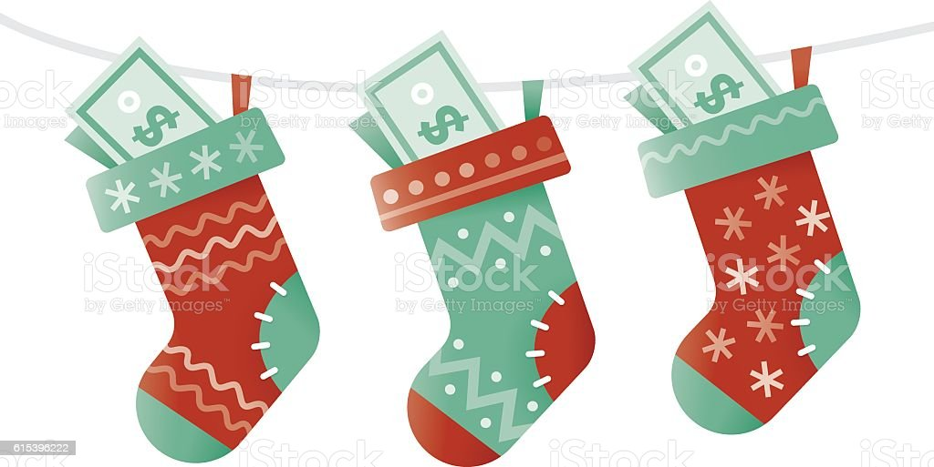 Christmas socks stuffed with money. New successful business year concept. vector art illustration