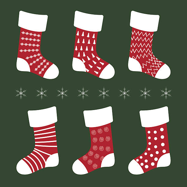 christmas socks with different patterns on a green background vector art illustration - Striped Christmas Stockings