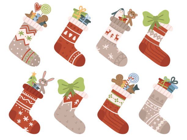 Christmas socks. Xmas stocking or sock with snowflakes, snowman and Santa. Deer and Santas helpers elves on stockings vector set Christmas socks. Xmas stocking or sock with snowflakes, snowman and Santa. Deer and Santas helpers elves on present warm winter stockings and candy strips flat vector isolated icon set christmas stocking stock illustrations
