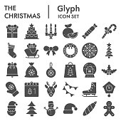 Christmas solid icon set. Winter holiday collection or sketches, symbols. New year signs for web design and mobile app, glyph style pictogram package isolated on white background. Vector graphic