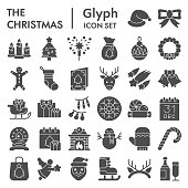 Christmas solid icon set. Winter holiday symbols collection, vector sketches, logo illustrations, web signs, glyph style pictograms package for mobile concept and web design. Vector graphics