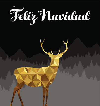 Christmas spanish deer gold low poly navidad card