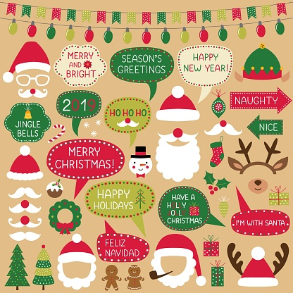 Christmas speech bubbles, Santa Claus hats and decoration, photo booth props