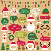 Christmas speech bubbles, Santa Claus hats and decoration, vector photo booth props