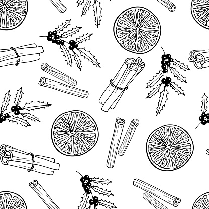 Christmas Spices Seamless pattern. Cinnamon sticks, orange fruit, Holly berry. Hand drawn Winter elements. Doodle Outline vector illustration. Christmas drinking For wallpaper, wrapping, scrapbooking