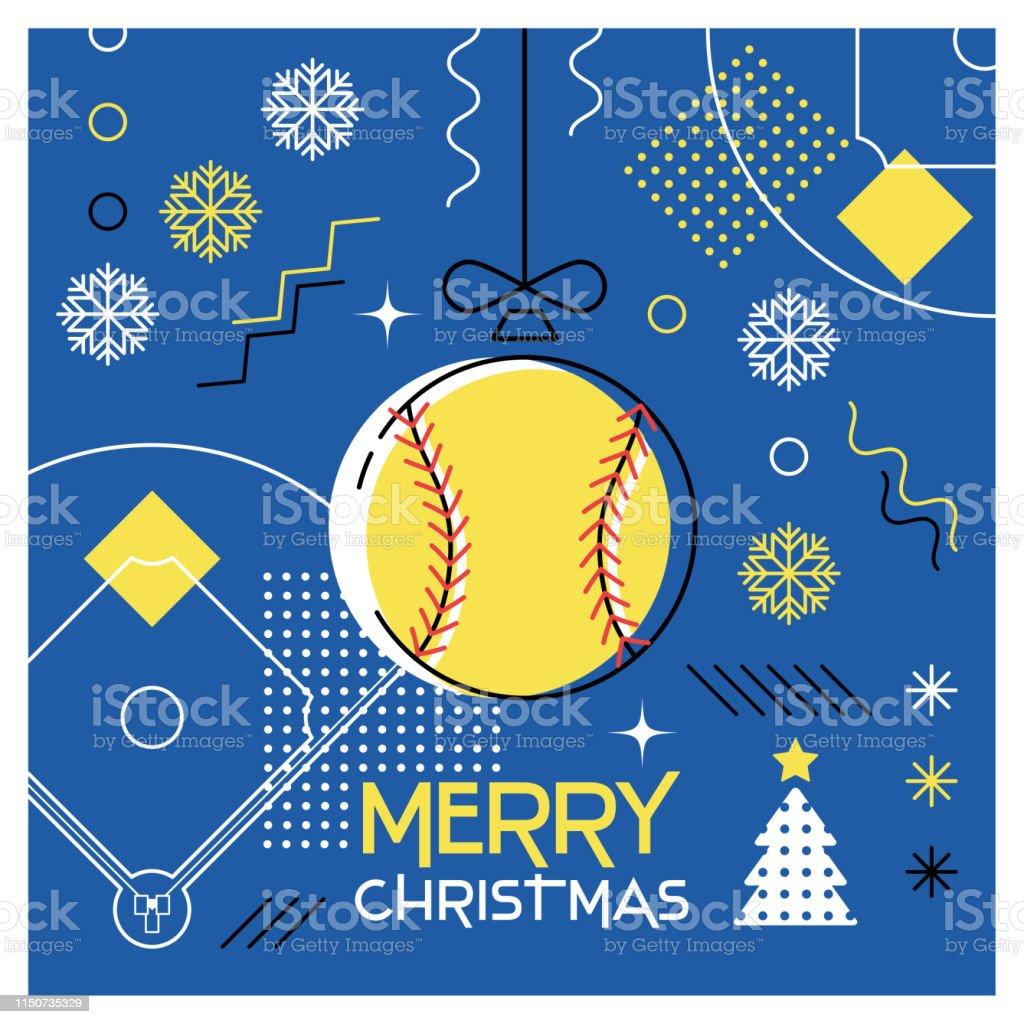 Merry Christmas. Greeting card with Christmas ball as a softball...
