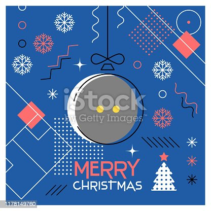 Merry Christmas. Greeting card with Christmas ball as a squash ball. Abstract flat design. Vector illustration.