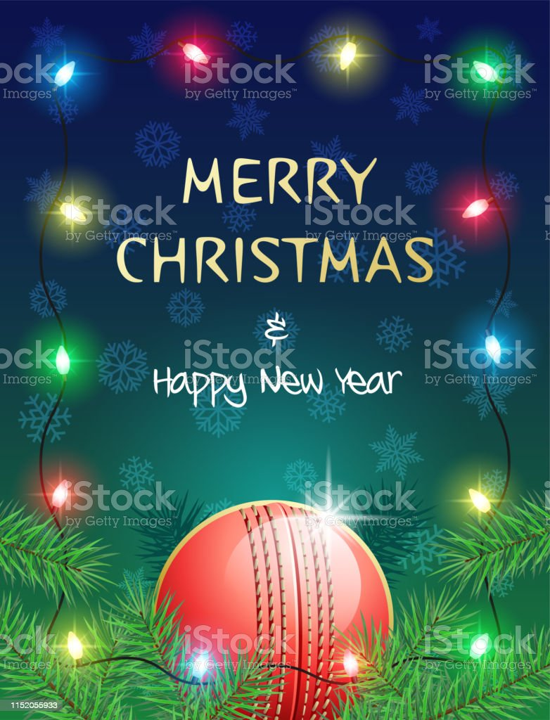 Merry Christmas and Happy New Year. Sports greeting card with Cricket...