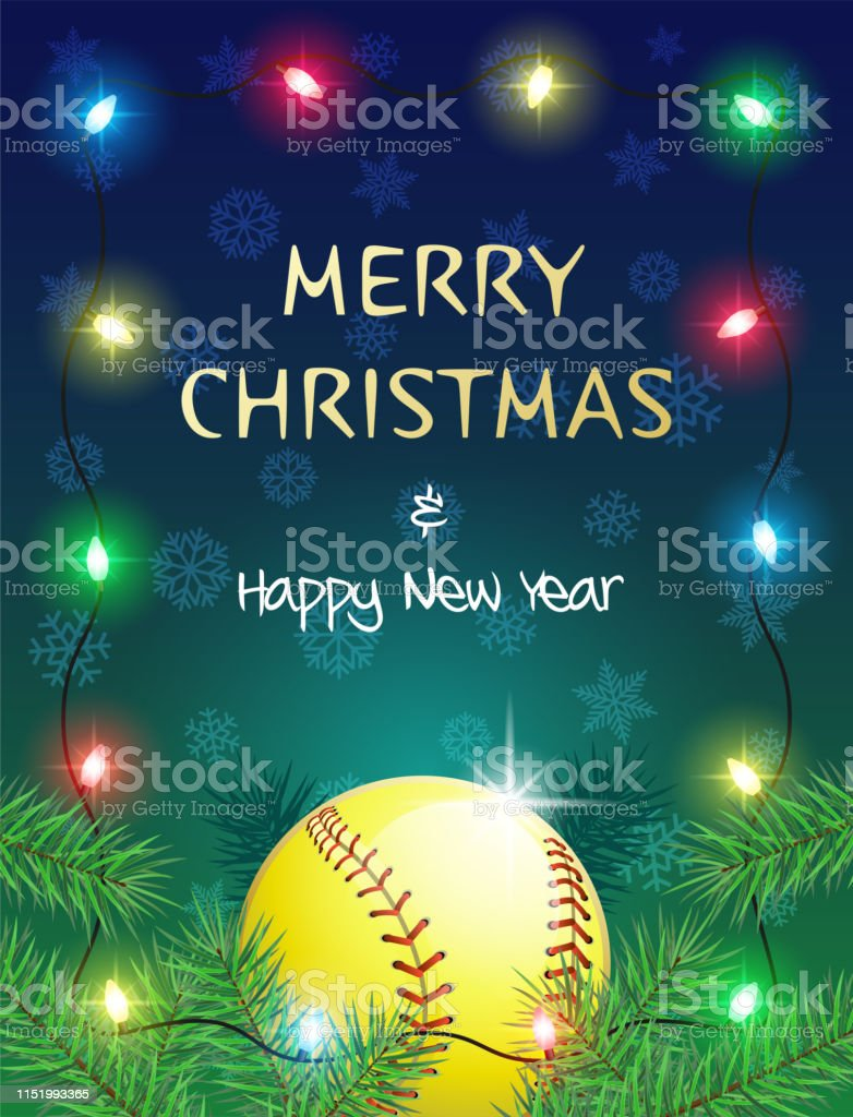 Merry Christmas and Happy New Year. Sports greeting card with...