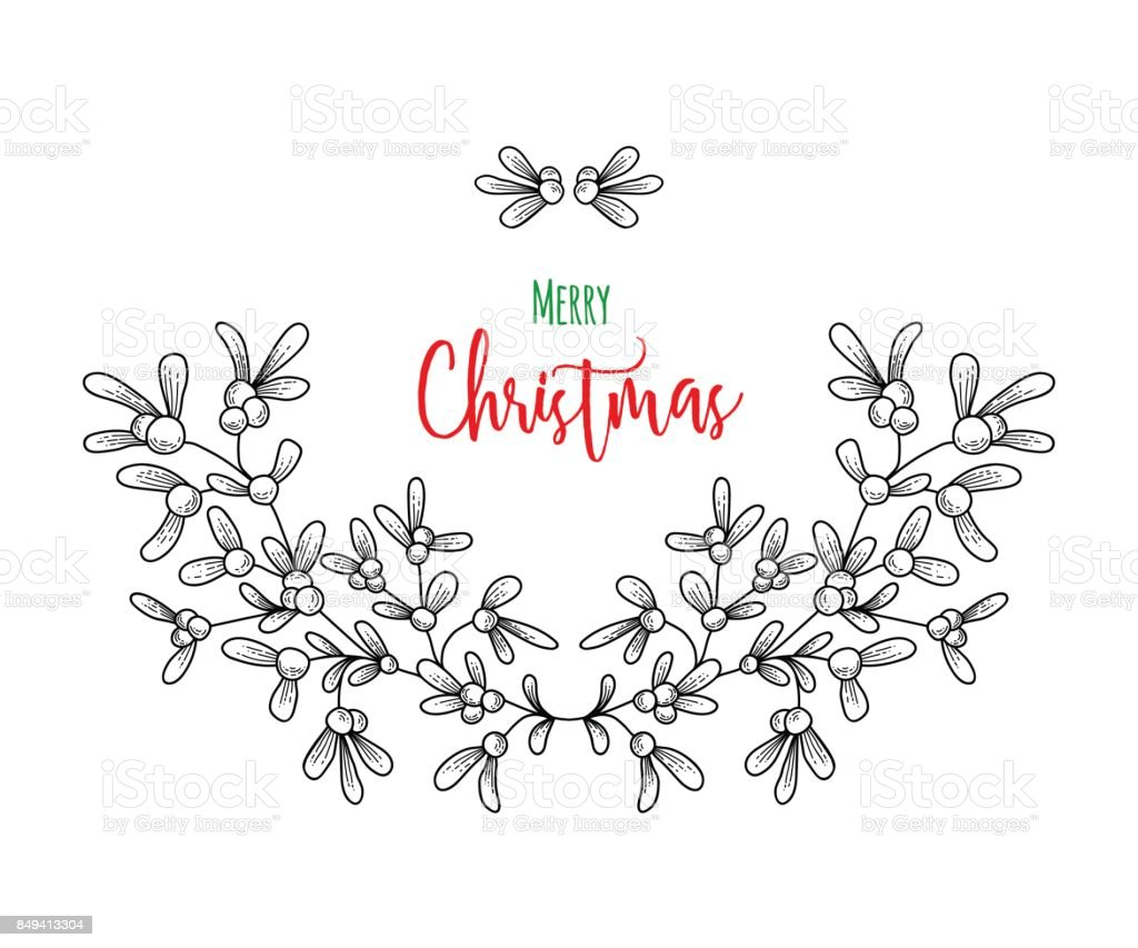 Christmas sprig of mistletoe illustration for greeting cards christmas sprig of mistletoe illustration for greeting cards invitations and other printing projects buycottarizona Image collections