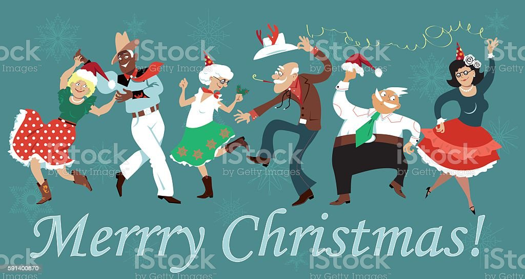 Christmas Square Dance vector art illustration