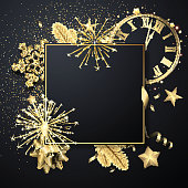 Happy New Year square greeting card template with golden shiny snowflakes, clock and fireworks. Vector Illustration.
