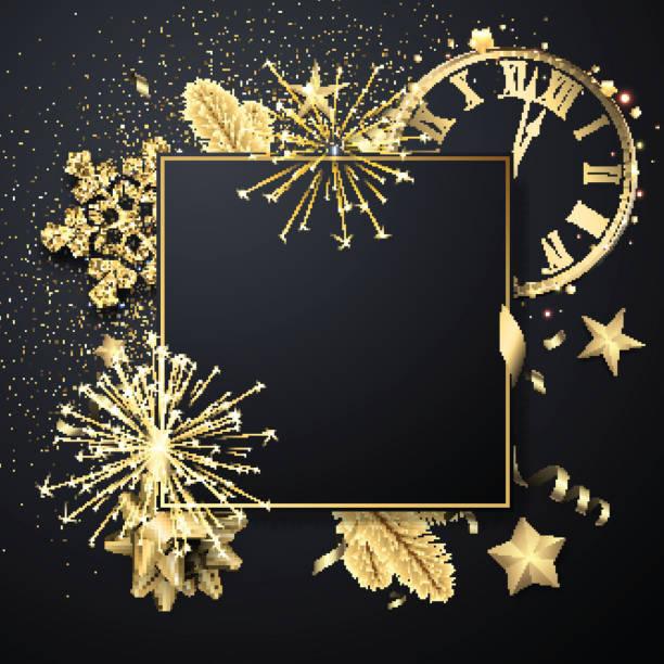 Weihnachten quadratische Grußkarte Vorlage mit golden glänzenden Schneeflocken, Uhr und Feuerwerk. – Vektorgrafik