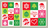 Set of Christmas greeting cards, rectangular and square formats.
