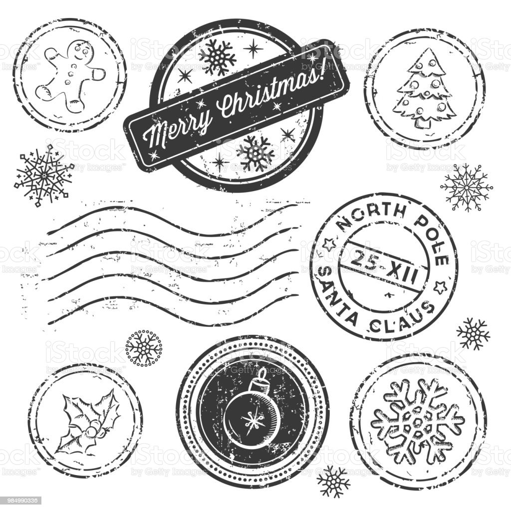 christmas stamp set isolated on white vector royalty free christmas stamp set isolated on - Christmas Stamp