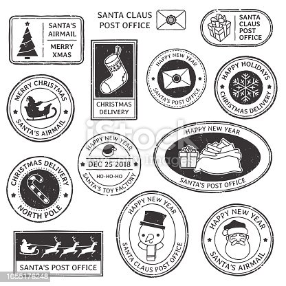 Christmas stamp. Vintage Santa Claus postmark, north pole mail cachet and greeting snowflake symbol on typography stamps. Xmas holiday vector isolated symbol illustration set