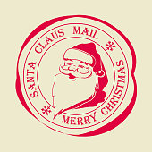 Christmas round stamp with text of Santa Claus post.