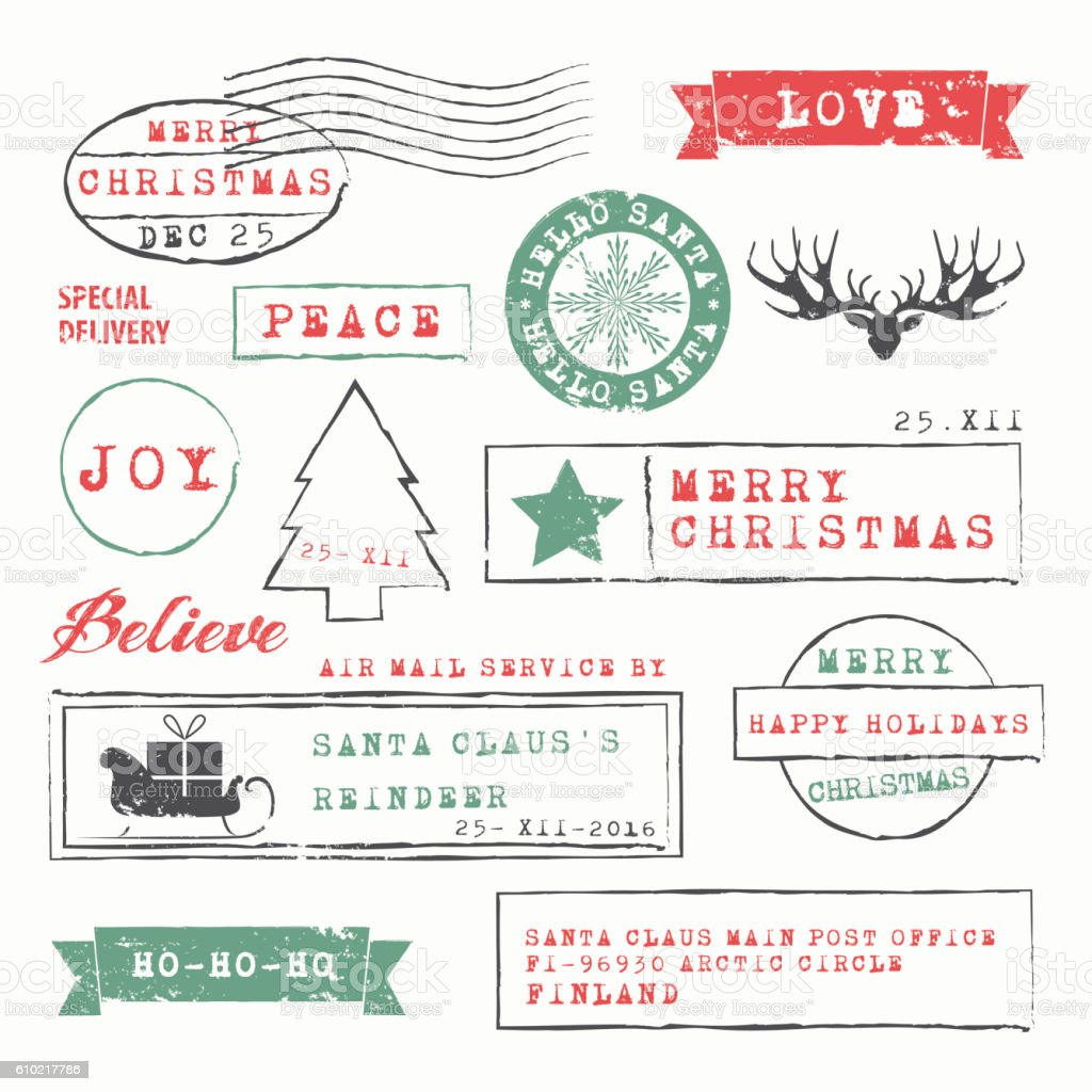 Christmas Stamps Collection Stock Vector Art & More Images of Air ...