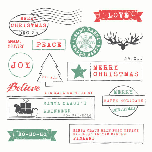 Christmas Stamps Collection Christmas  Postage Stamps Collection. Vector Illustration.EPS10, Ai10, PDF, High-Res JPEG included. north pole stock illustrations