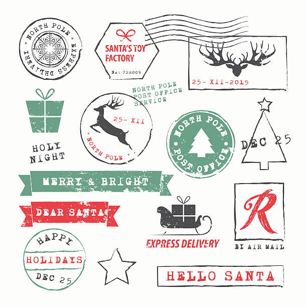 Christmas Stamps Collection Christmas  Postage Stamps Collection. Vector Illustration.EPS10, Ai10, PDF, High-Res JPEG included. alphabet clipart stock illustrations
