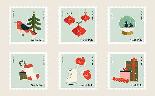 Christmas Stamps for Mailing Letters to Santa at the North Pole Featuring ice skates, snow globes, gifts, stockings, ornaments, christmas trees and birds