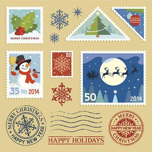 Weihnachts-Briefmarken Satz – Vektorgrafik