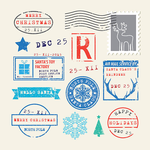 Christmas stamps set Vector illustration. EPS10, Ai10, PDF, High-Res JPEG included. north pole stock illustrations