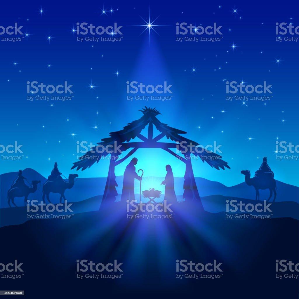 Nativity scene, Christmas star on blue sky and birth of Jesus,...