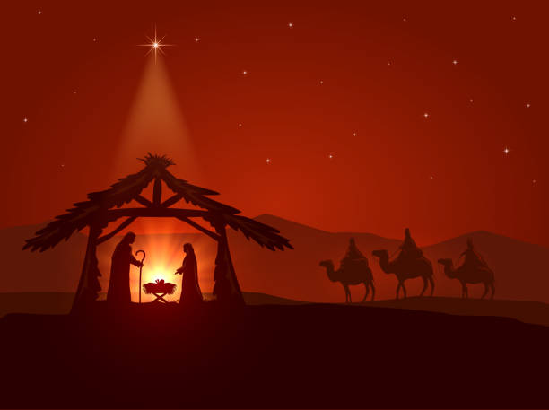 Christmas star and the birth of Jesus Christian theme, Christmas star and the birth of Jesus, illustration. nativity silhouette stock illustrations