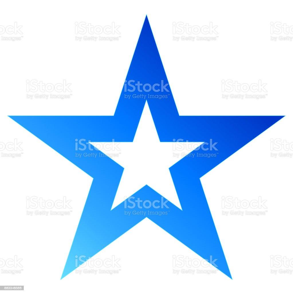 Christmas star blue - outlined 5 point star - isolated on white vector art illustration