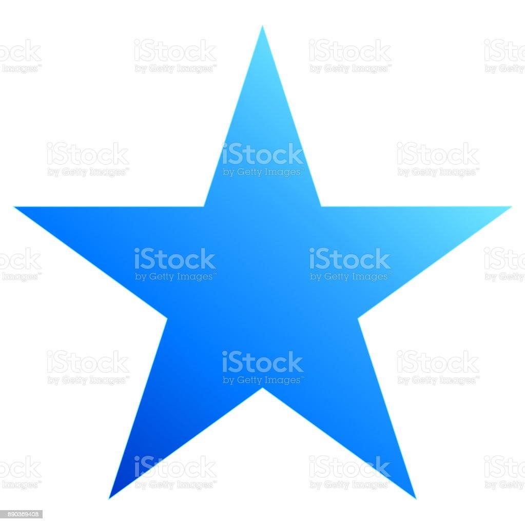 Christmas star blue - simple 5 point star - isolated on white vector art illustration