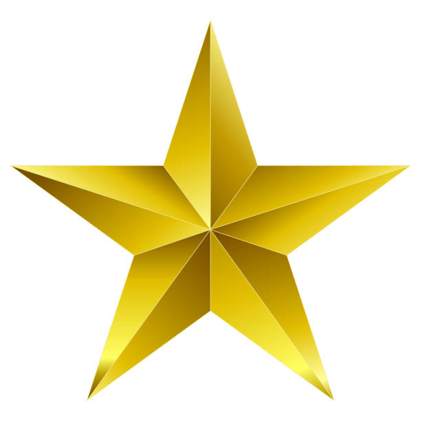 christmas star golden - 5 point star - isolated on white - spiked stock illustrations