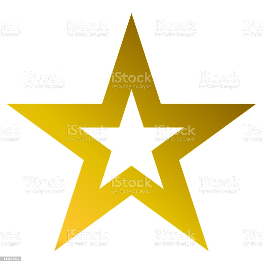 Christmas star golden - outlined 5 point star - isolated on white vector art illustration