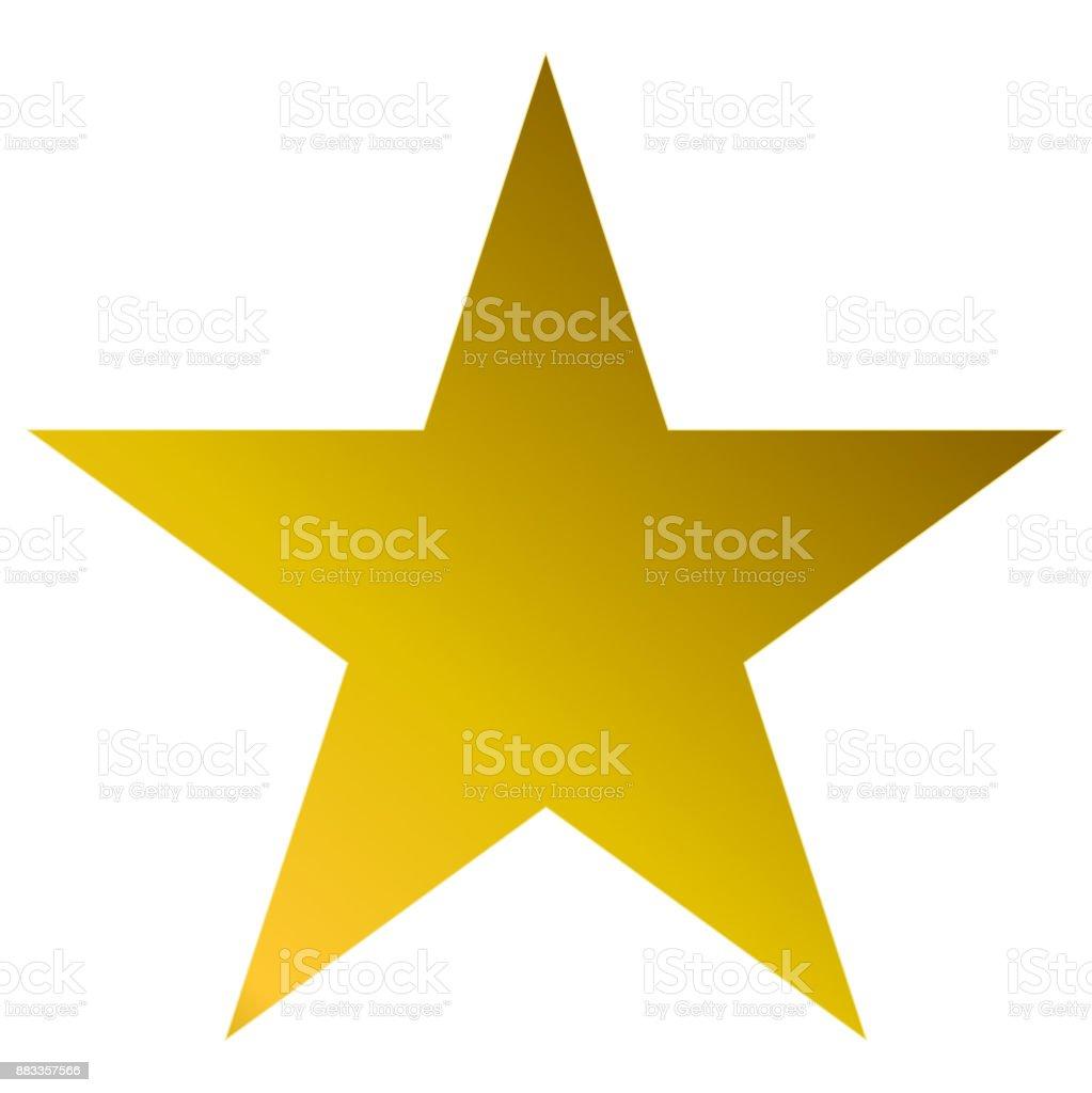 Christmas star golden - simple 5 point star - isolated on white vector art illustration