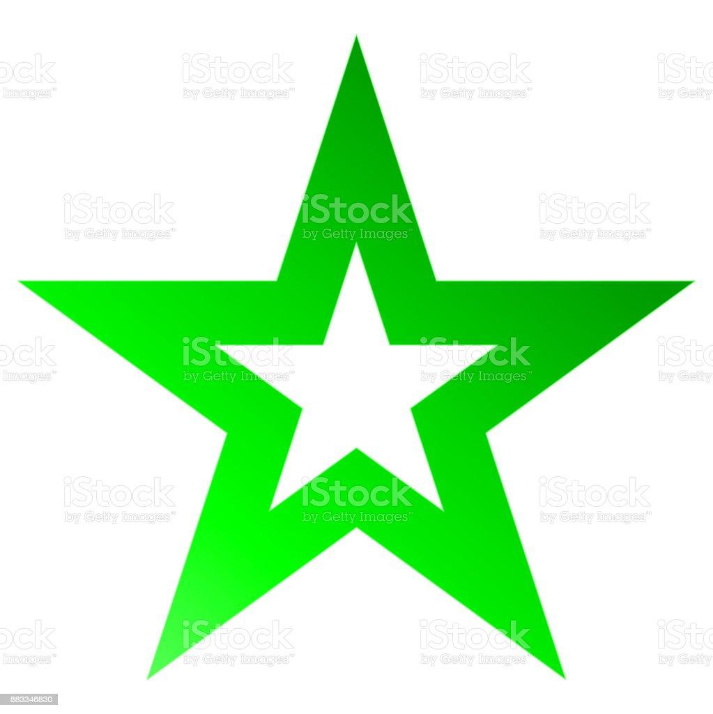 Christmas star green - outlined 5 point star - isolated on white vector art illustration