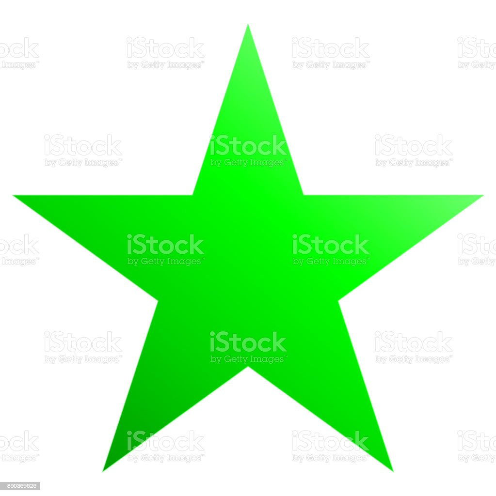Christmas star green - simple 5 point star - isolated on white vector art illustration