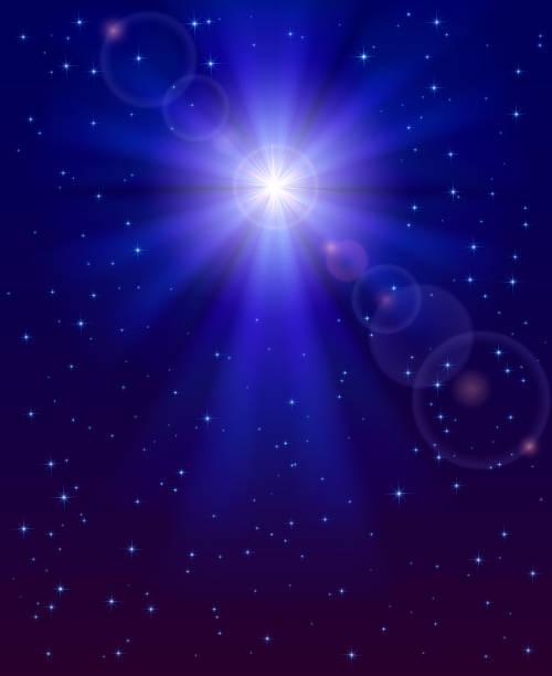 stockillustraties, clipart, cartoons en iconen met christmas star in the sky - kerstster