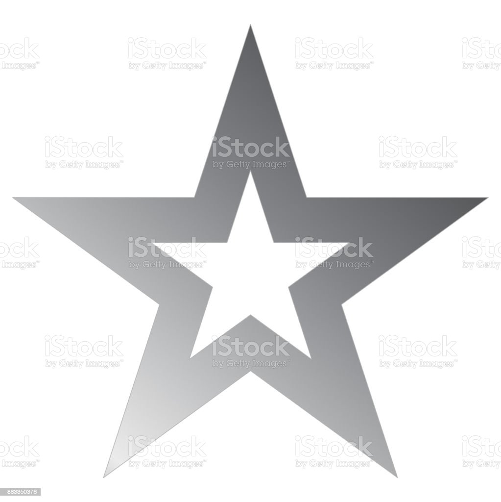 Christmas star metal - outlined 5 point star - isolated on white vector art illustration